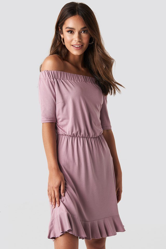 Off Shoulder Jersey Dress NA-KD.COM