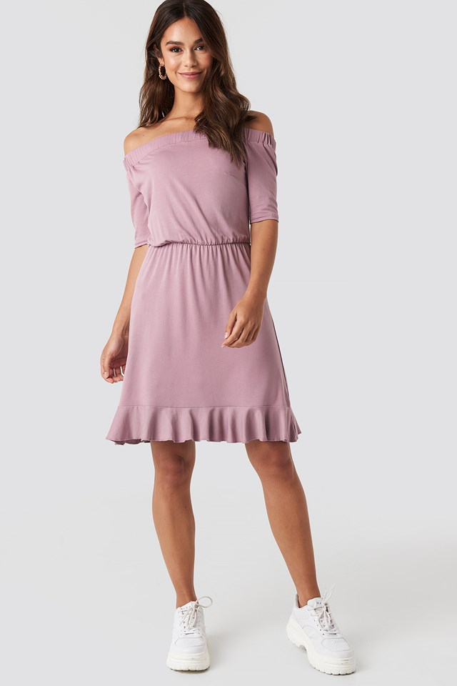 Off Shoulder Jersey Dress Dusty Pink