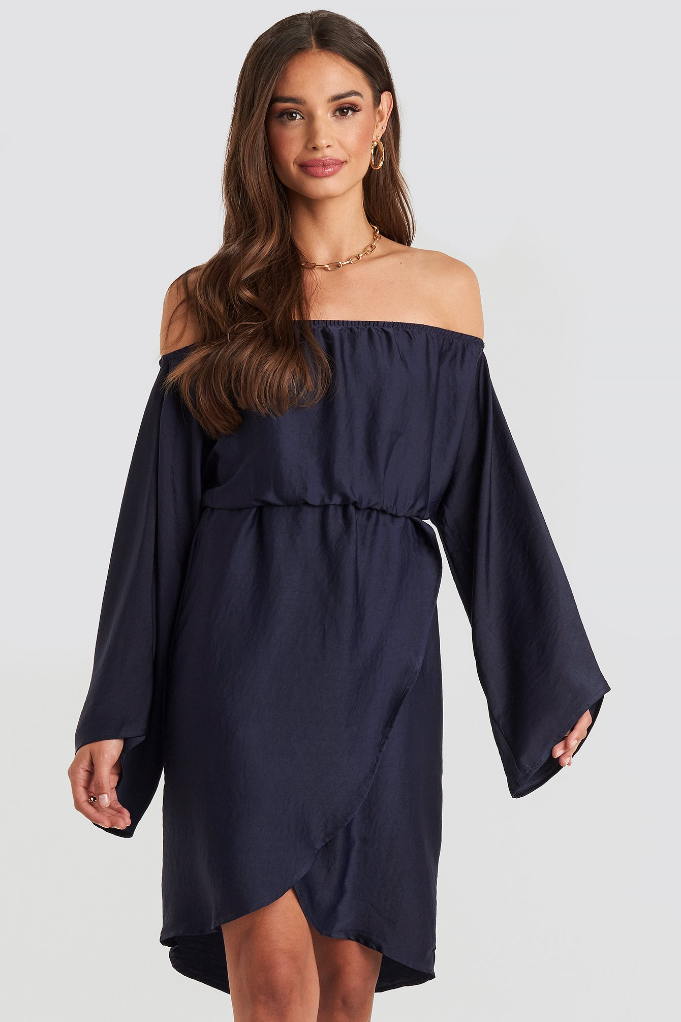 na-kd -  Off Shoulder Kimono Sleeve Dress - Blue