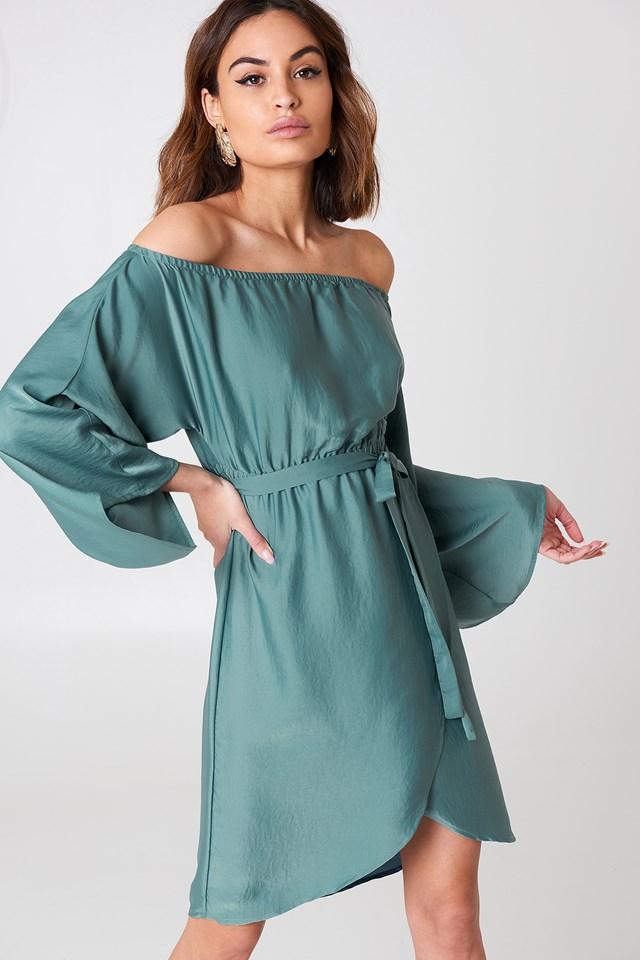 Off Shoulder Kimono Sleeve Dress Dusty Green