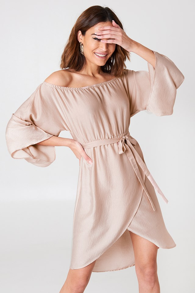 Off Shoulder Kimono Sleeve Dress Pink champagne
