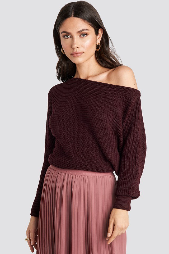 Off Shoulder Knitted Sweater Burgundy