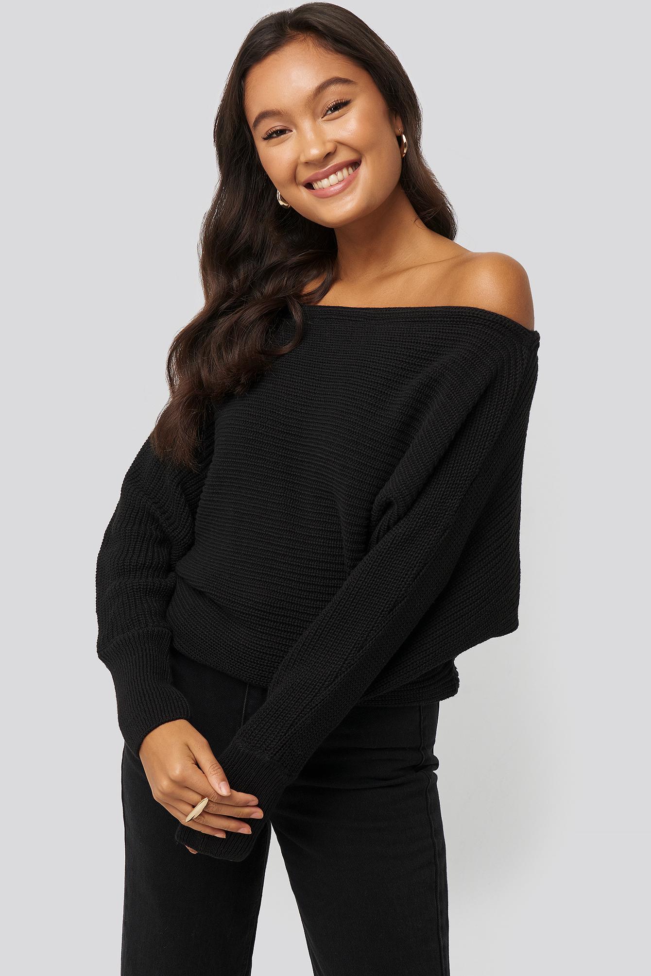 NA-KD Off Shoulder Knitted Sweater - Black