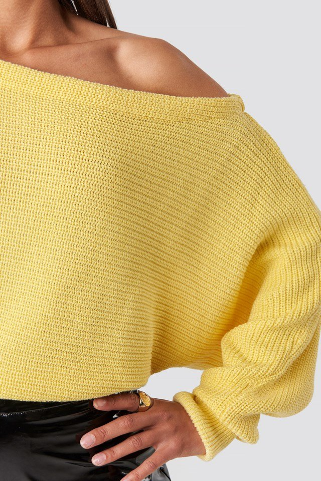 Off Shoulder Knitted Sweater Light Yellow