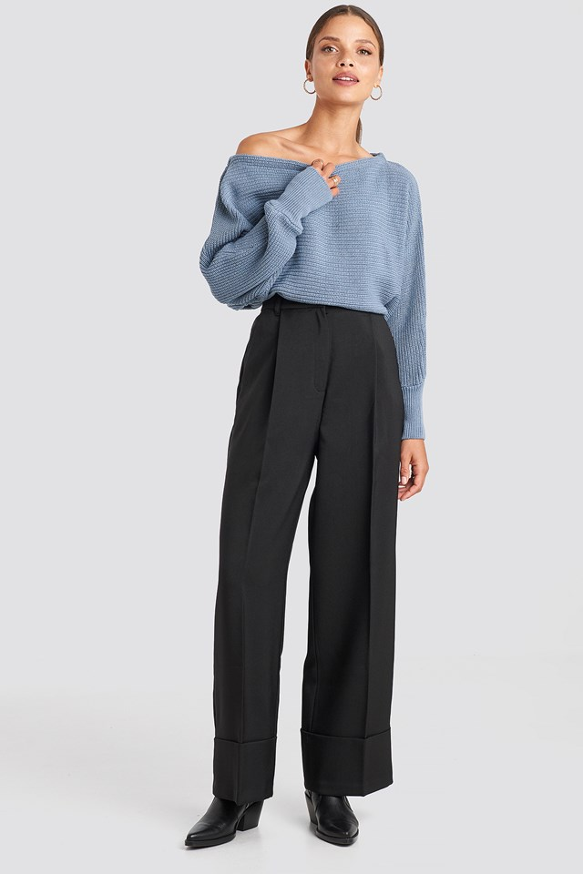 Off Shoulder Knitted Sweater Stone Blue