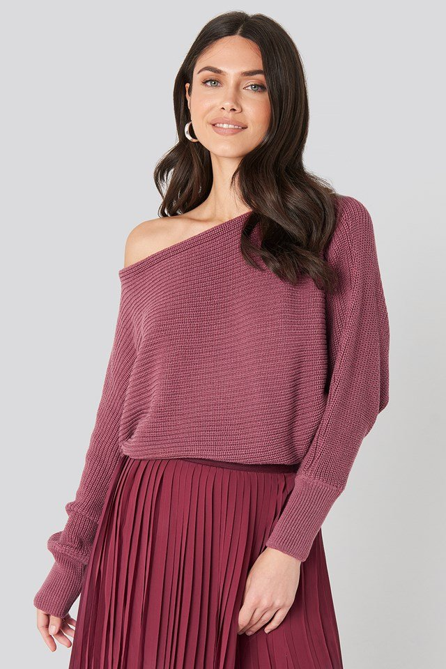 Off Shoulder Knitted Sweater Purple Rose