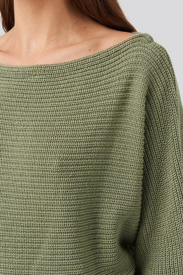 Off Shoulder Knitted Sweater Light Khaki