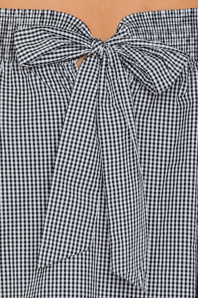 Off Shoulder Knot Back Dress Checkered