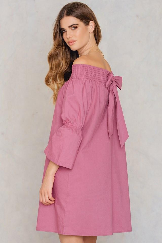 Off Shoulder Knot Back Dress Purple Rose