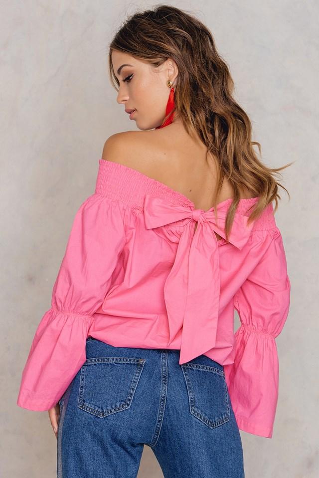 Off Shoulder Knot Back Top Pink