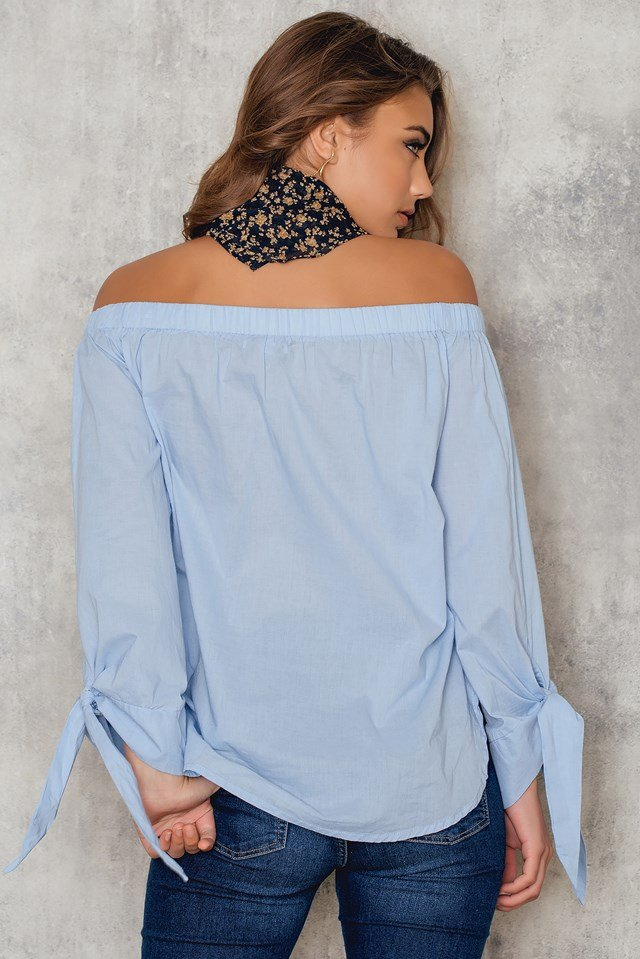 Off Shoulder Knot Blouse Blue