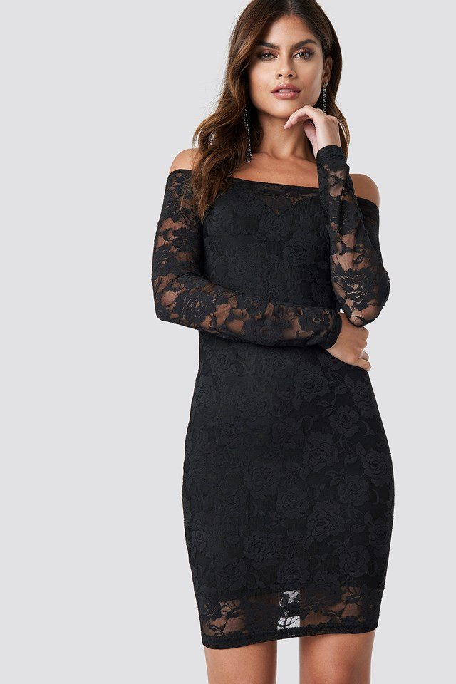 Off Shoulder Lace Dress Black