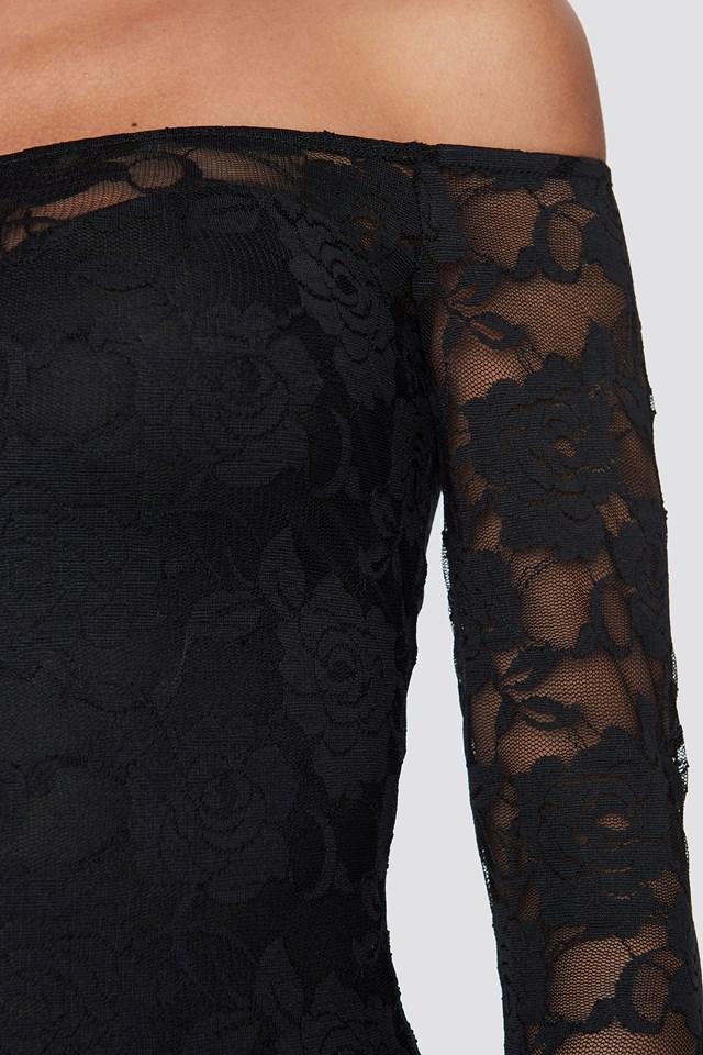 Off Shoulder Lace Dress Black