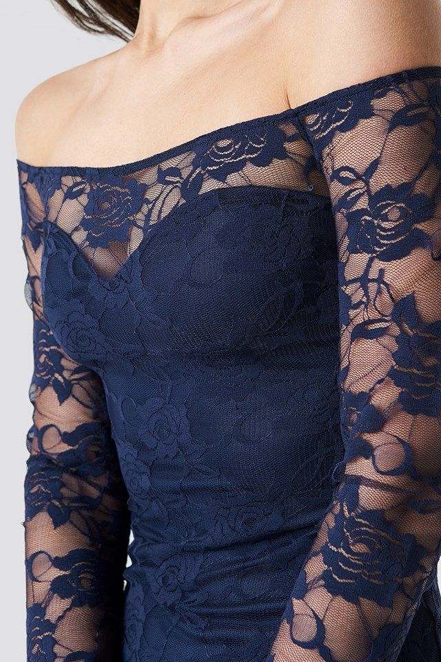 Off Shoulder Lace Dress Dark Blue
