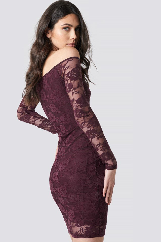 Off Shoulder Lace Dress NA-KD.COM