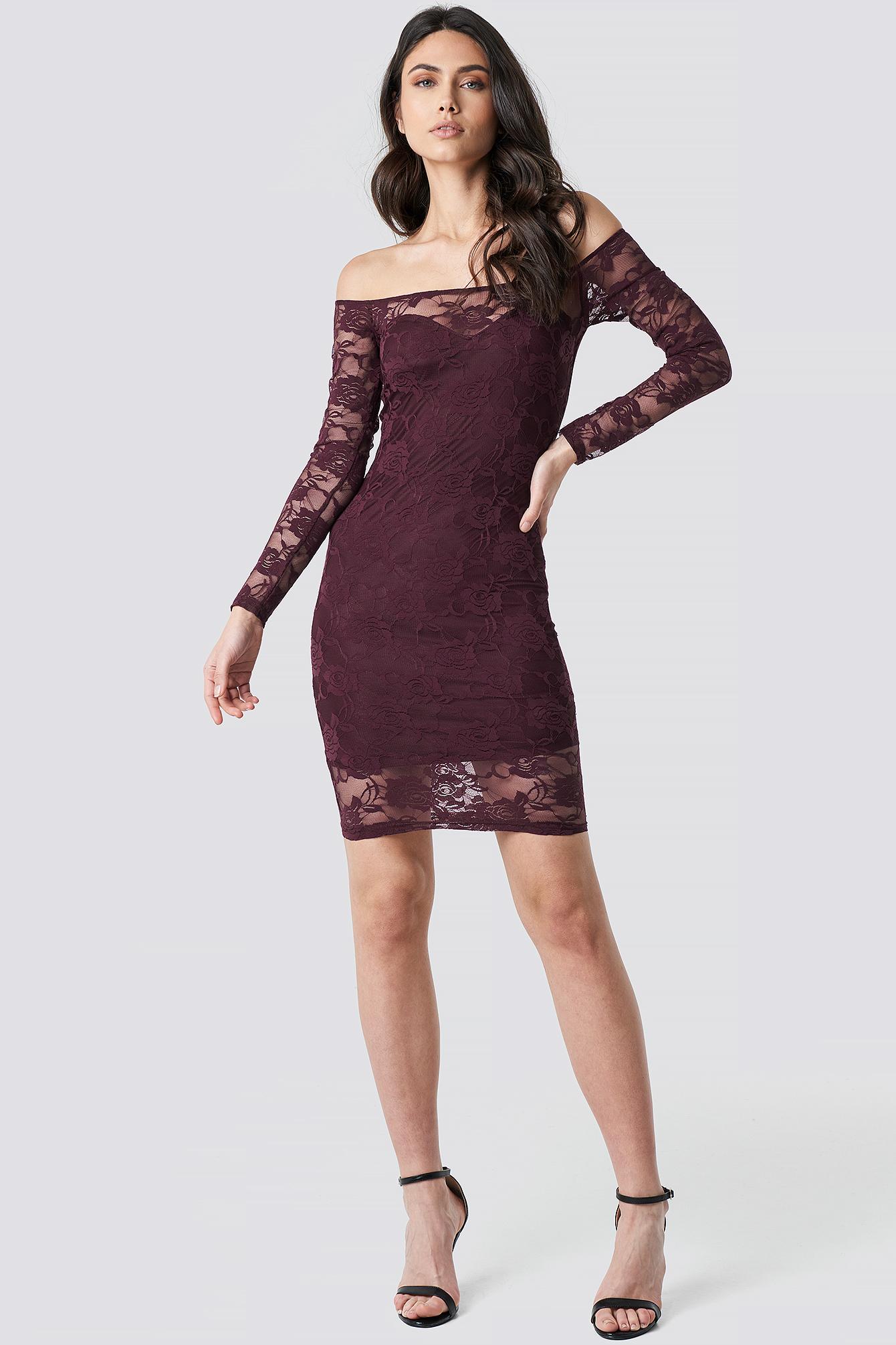 Off Shoulder Lace Dress NA-KD.COM