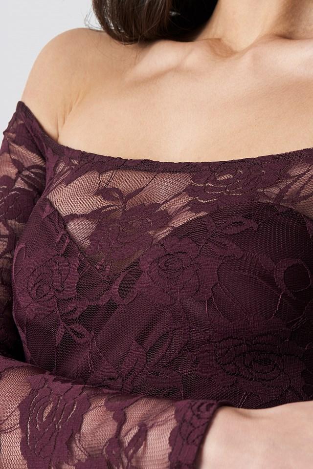 Off Shoulder Lace Dress Dark Burgundy