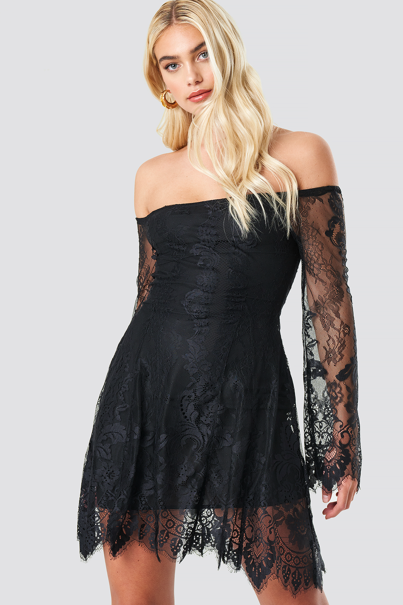 Off Shoulder Lace Mini Dress NA-KD.COM