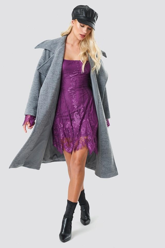 Off Shoulder Lace Mini Dress Deep Plum