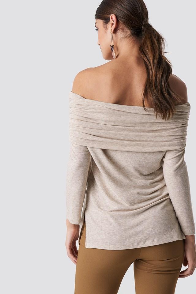 Offshoulder Light Knitted Sweater Beige Melange