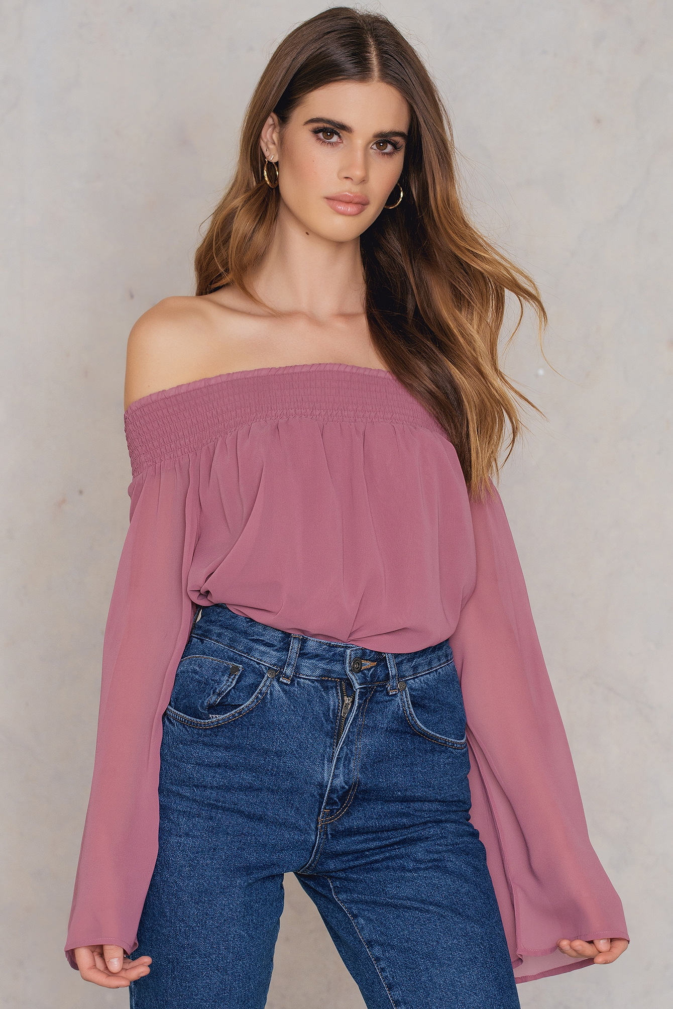 na-kd boho -  Off Shoulder Long Sleeve Top - Pink