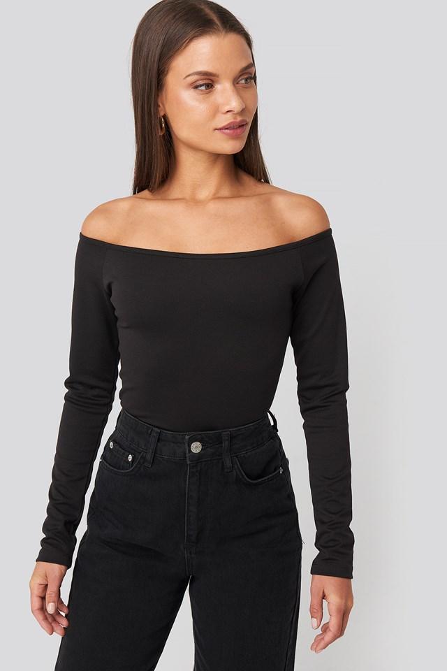 Off Shoulder Long Sleeved Top Black