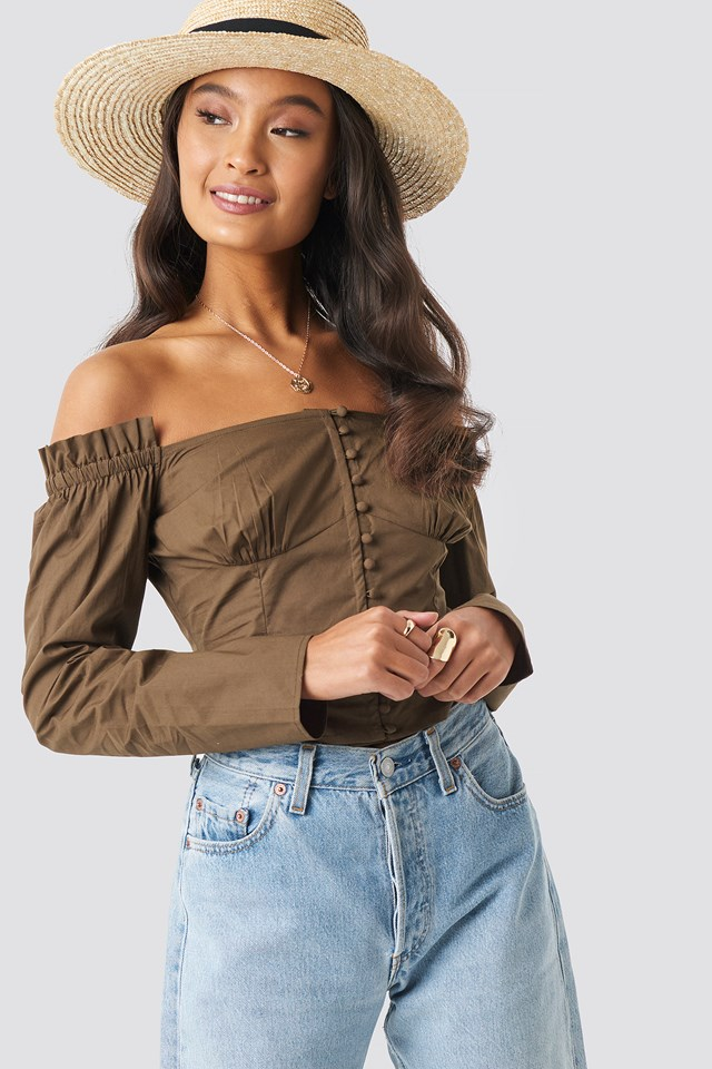 Off Shoulder LS Cotton Blouse NA-KD.COM