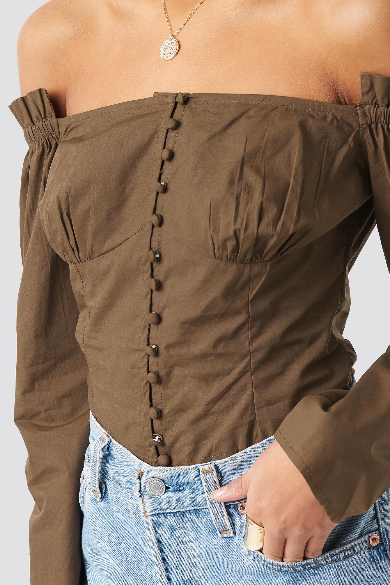 Off Shoulder LS Cotton Blouse NA-KD.COM