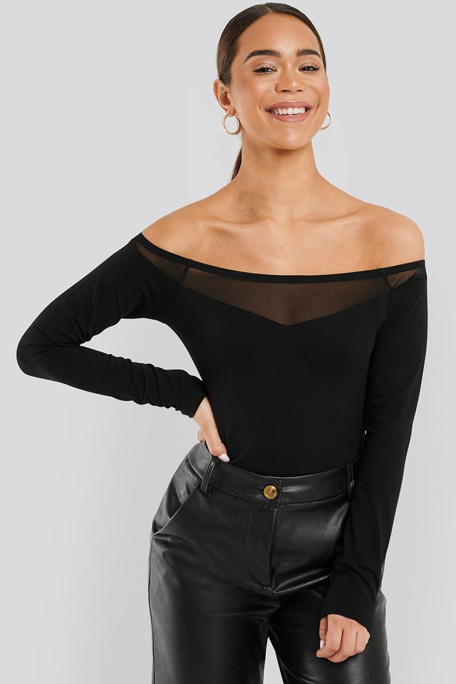 Off Shoulder Mesh Detail Body Black