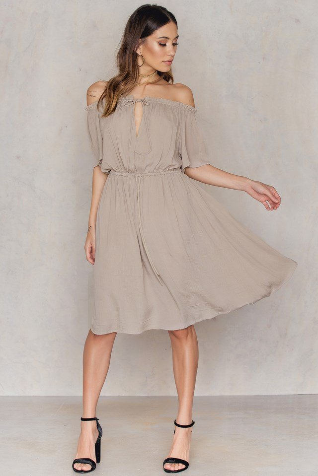 Off Shoulder Midi Dress Dusty Green