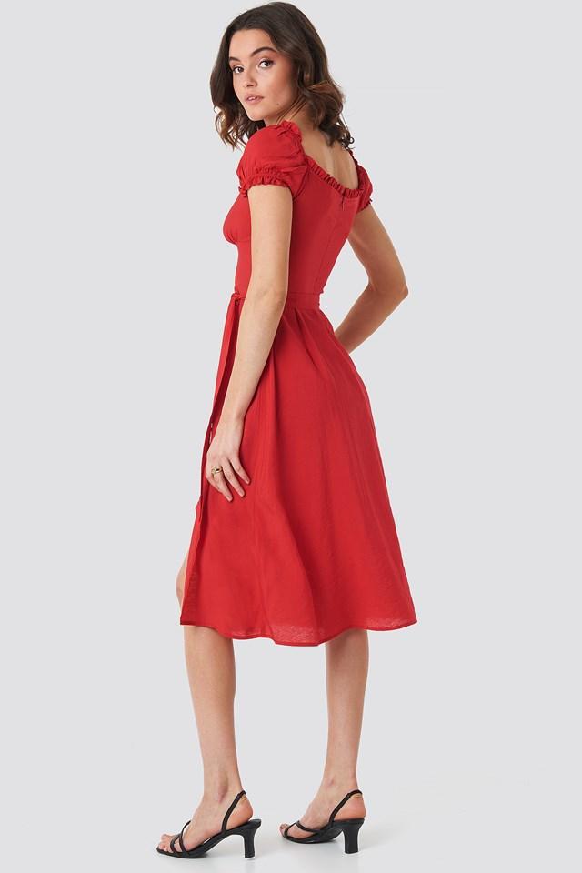 Off Shoulder Midi dress Red