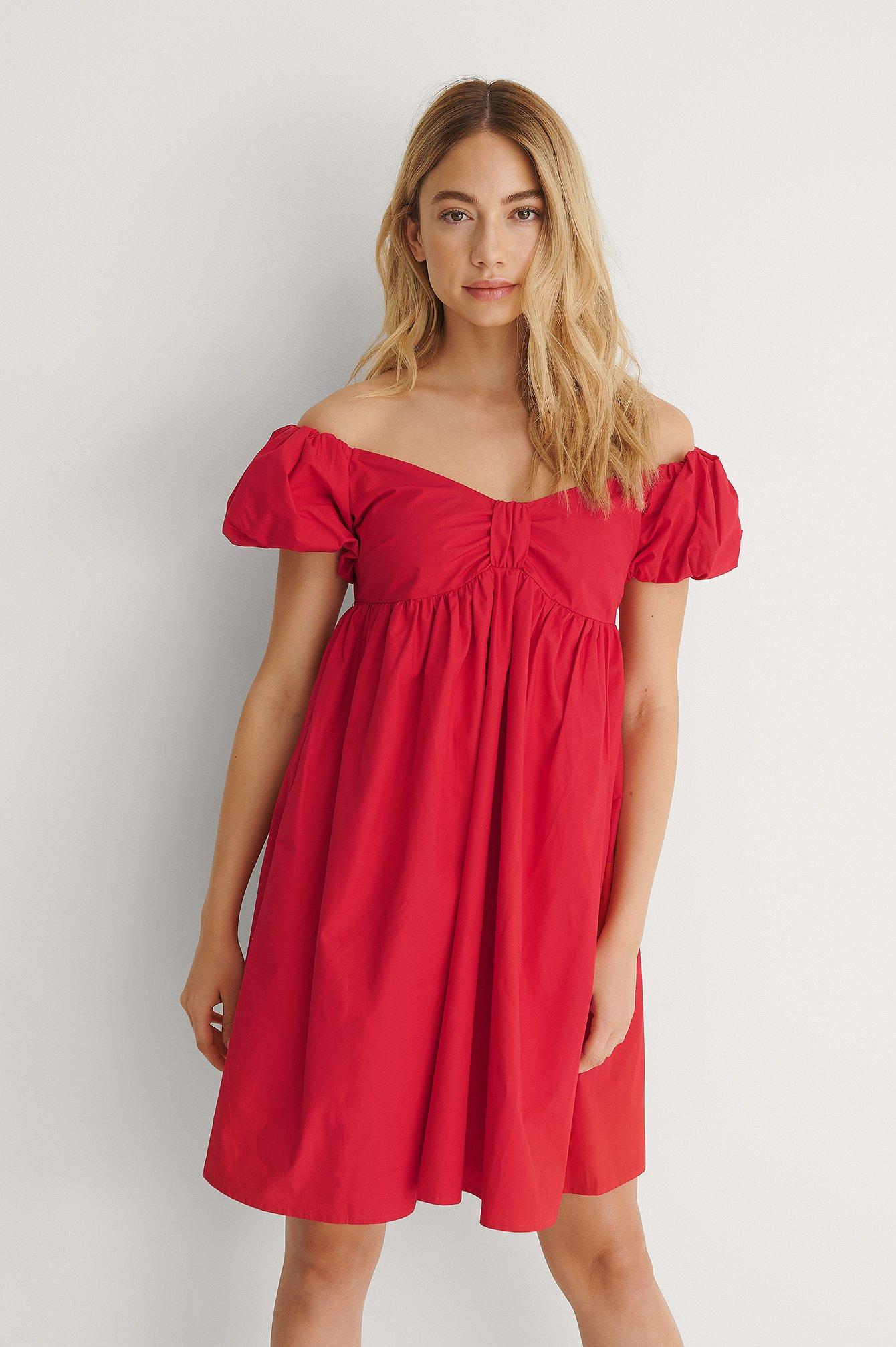 na-kd trend -  Organisch Schulterfreies Minikleid - Red
