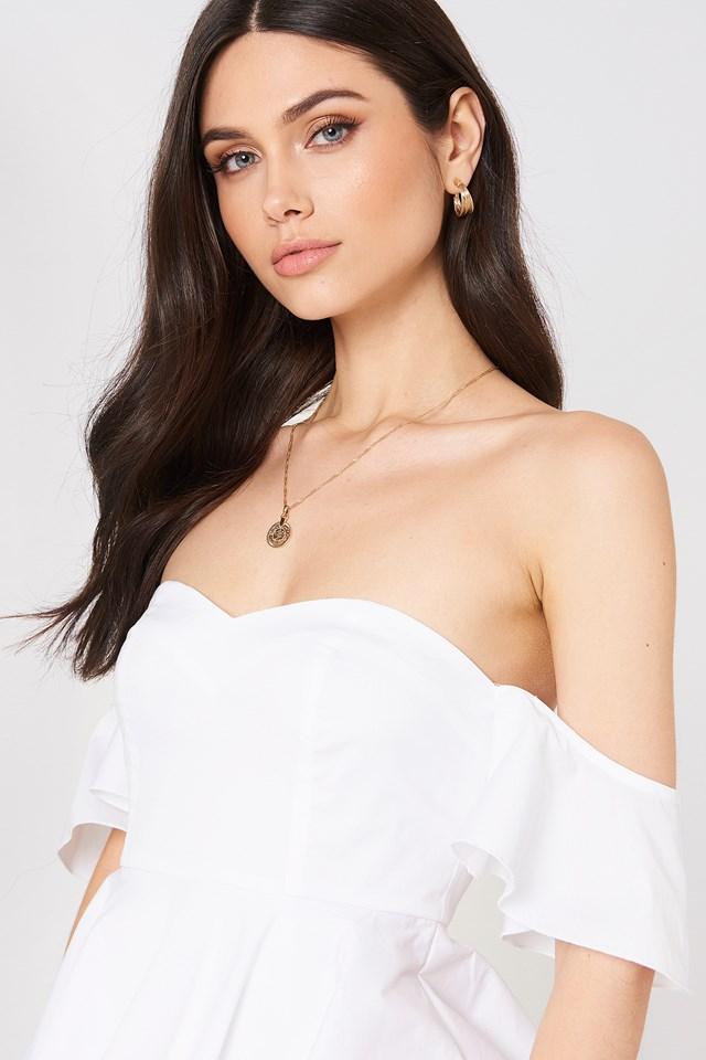 Off Shoulder Mini Flounce Dress White