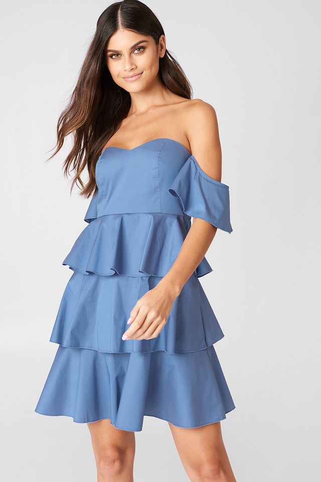 Off Shoulder Mini Flounce Dress NA-KD Boho