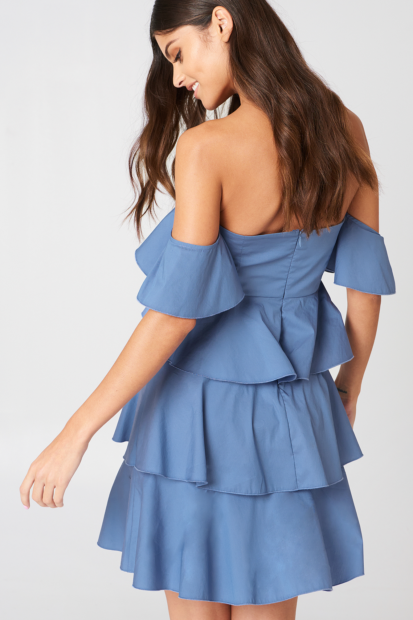 Off Shoulder Mini Flounce Dress NA-KD.COM