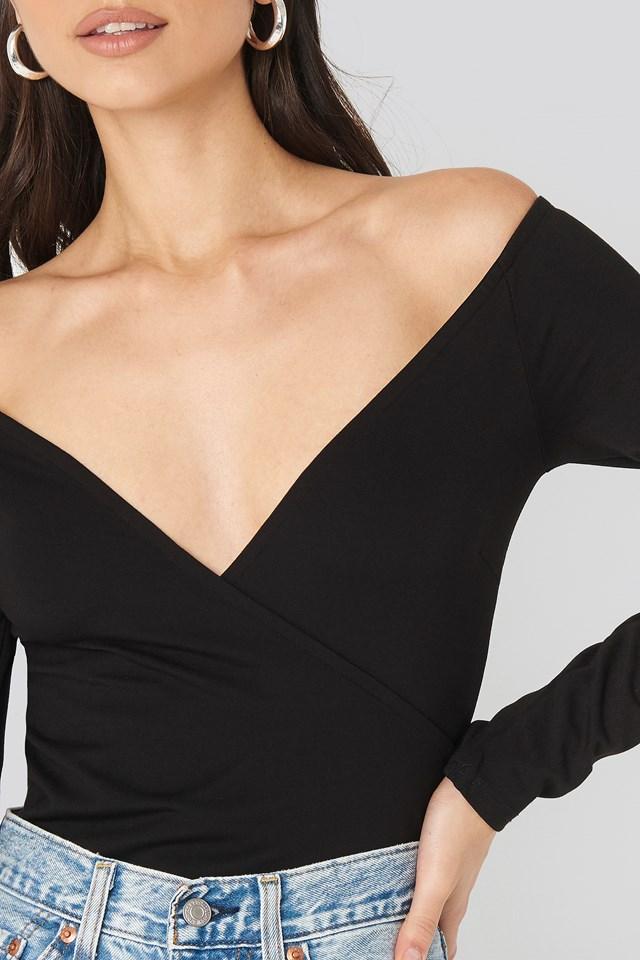 Off Shoulder Overlap Top Black