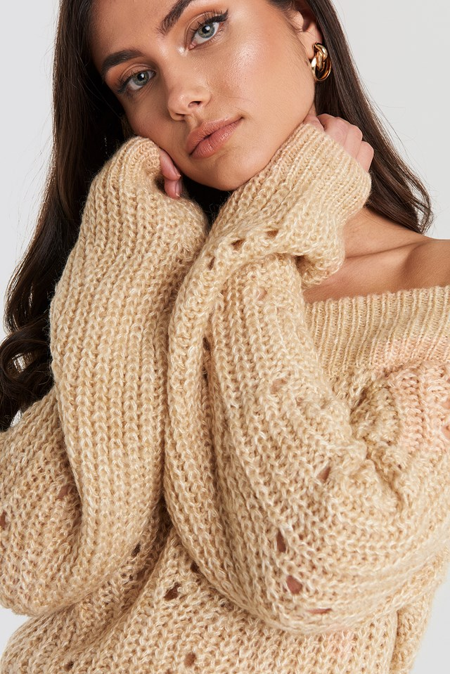 Off Shoulder Pointelle Knitted Sweater Beige