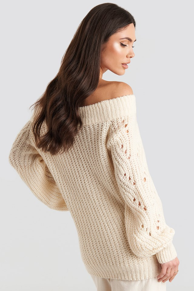 Off Shoulder Pointelle Knitted Sweater Offwhite