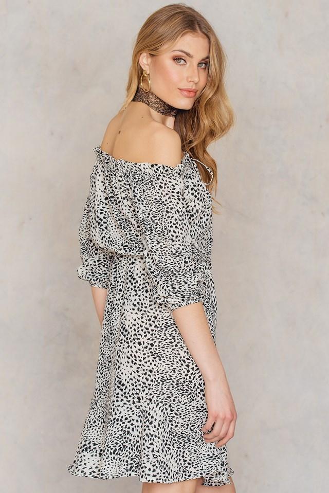 Off Shoulder Printed Dress Print
