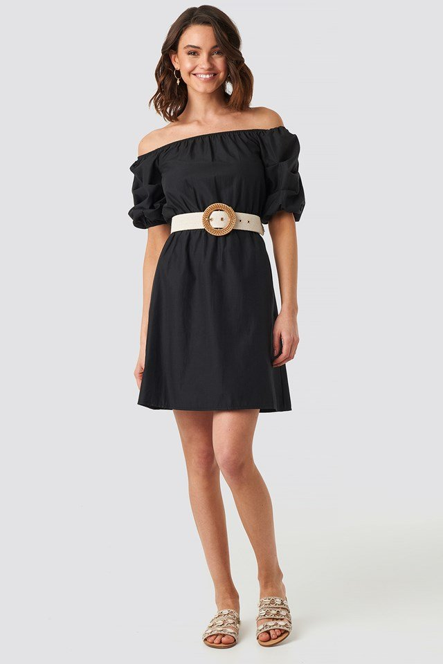 Off Shoulder Puff Sleeve A-Line Dress NA-KD.COM