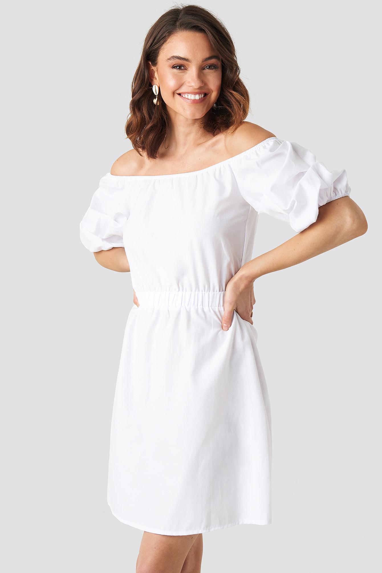 Off Shoulder Puff Sleeve A-Line Dress NA-KD.COM