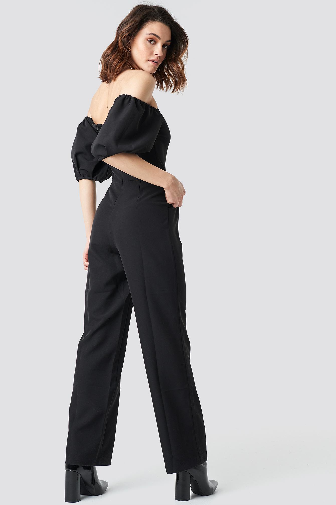 Off Shoulder Puff Sleeve Jumpsuit NA-KD.COM