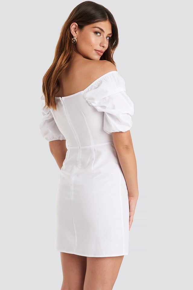 Off Shoulder Puff Sleeve Mini Dress White