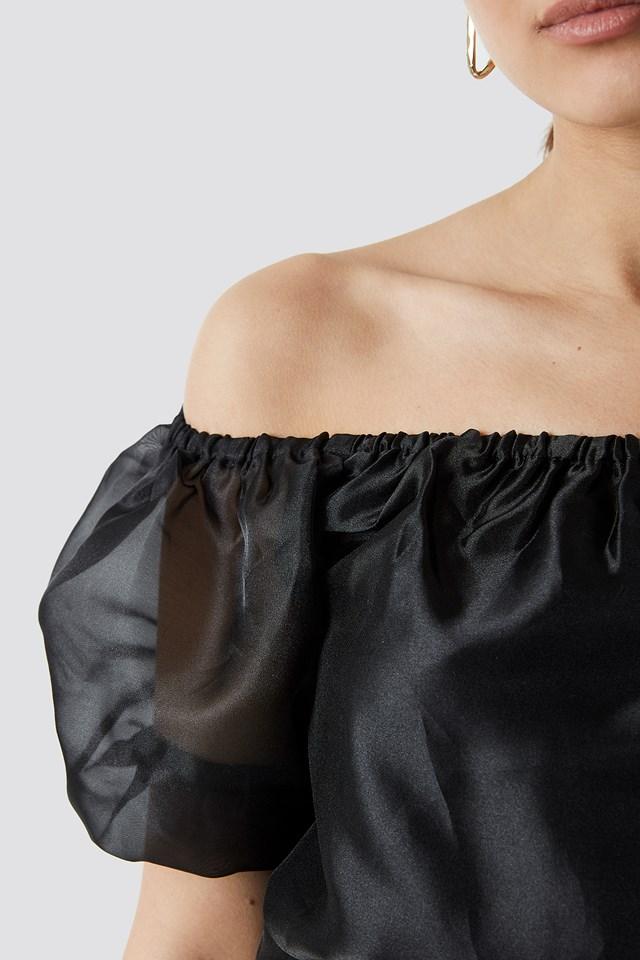 Off Shoulder Puff Sleeve Top Black