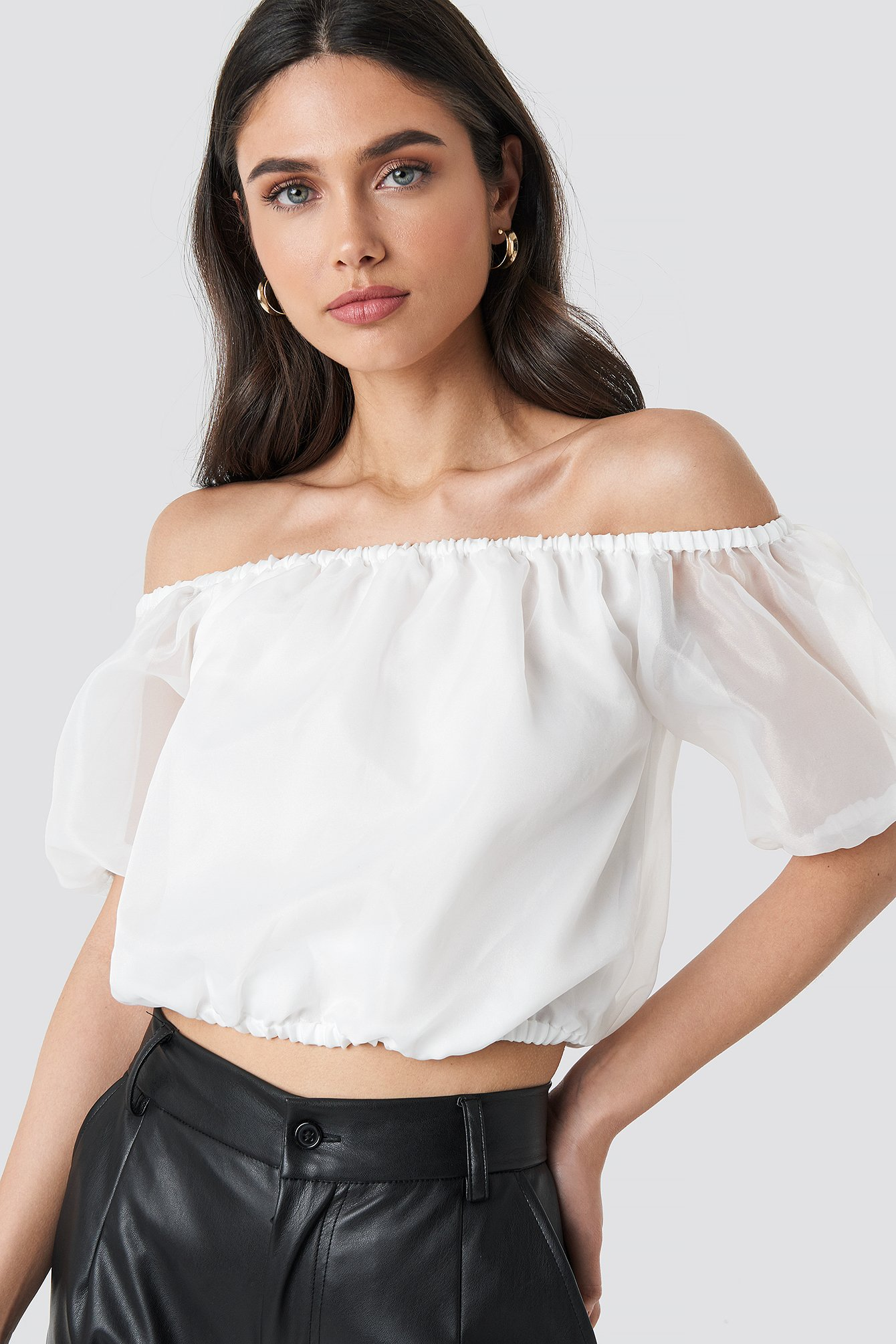 na-kd party -  Off Shoulder Puff Sleeve Top - White