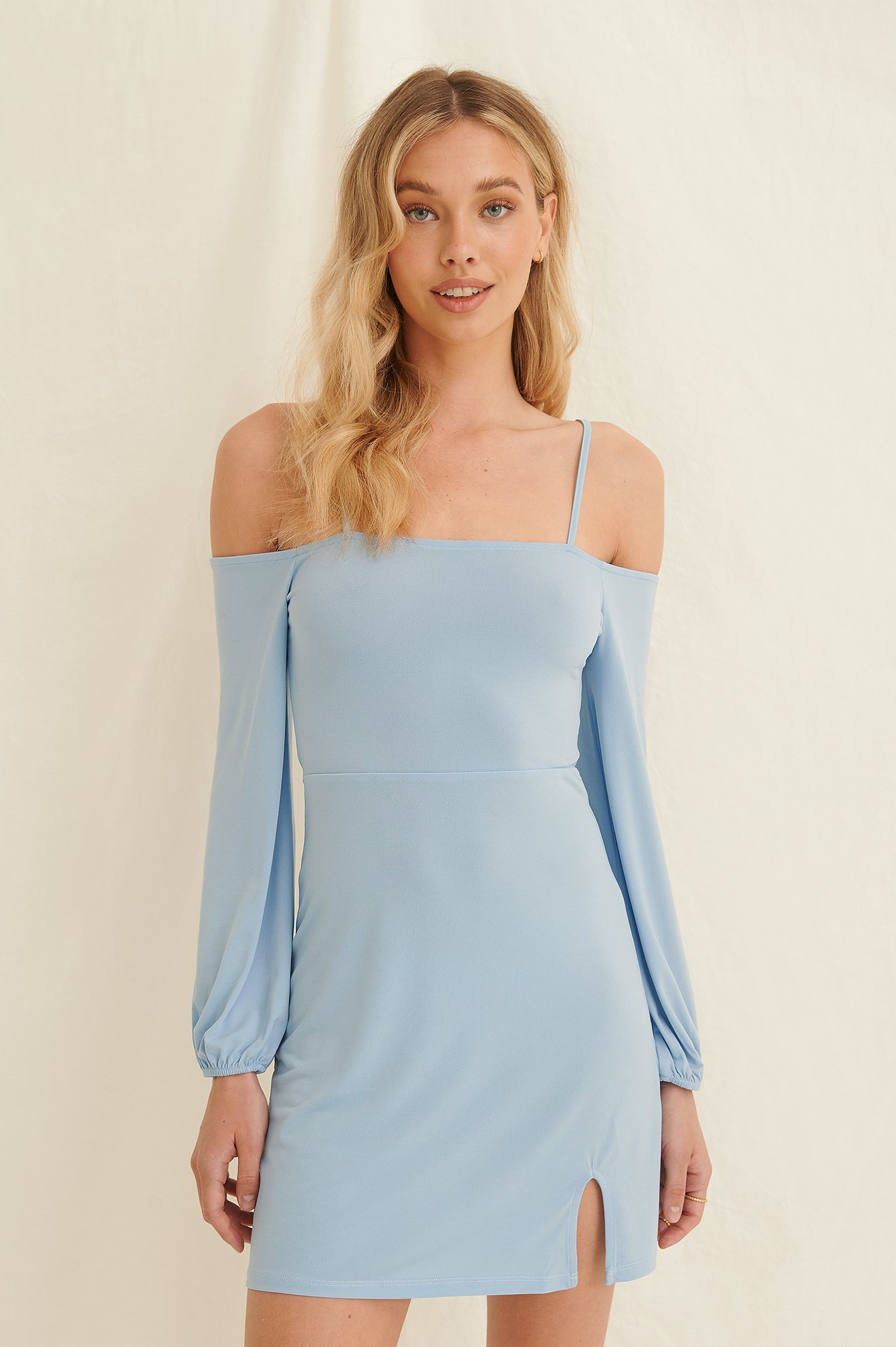 Dusty Blue Off Shoulder Balloon Sleeves Dress