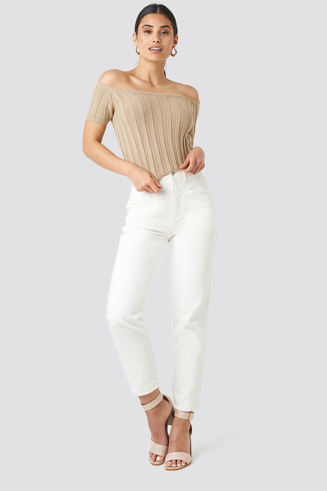 Off Shoulder Ribbed Knitted Top Beige