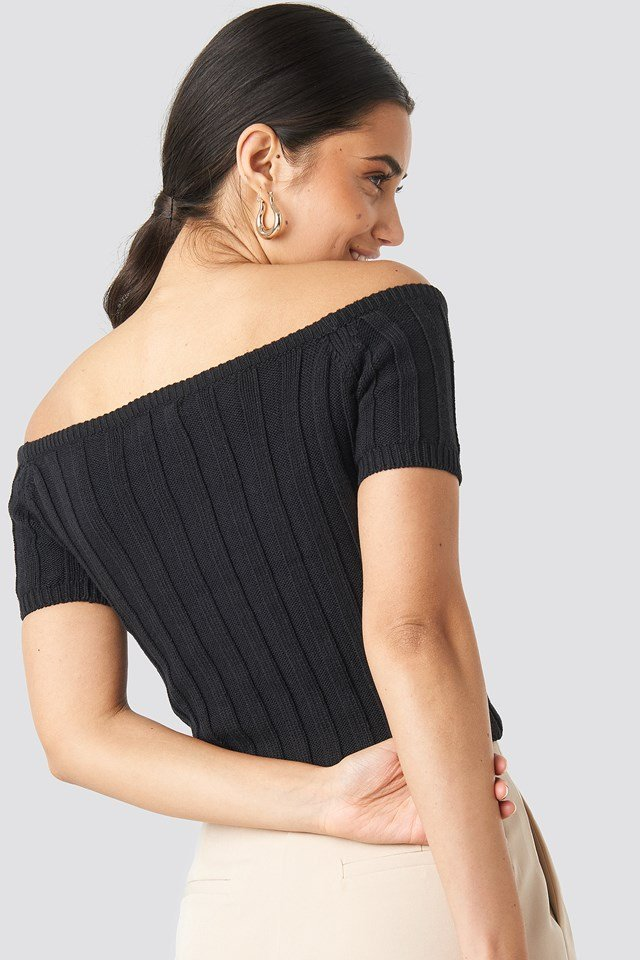 Off Shoulder Ribbed Knitted Top Black