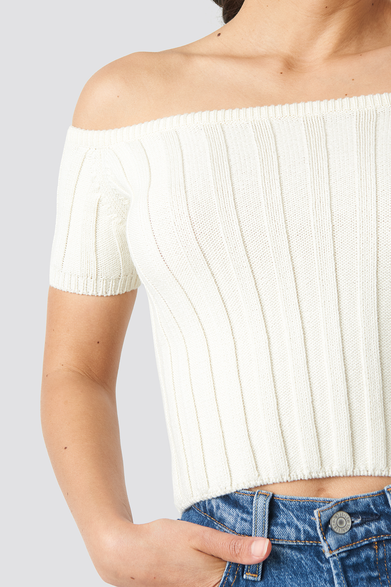 Off Shoulder Ribbed Knitted Top NA-KD.COM
