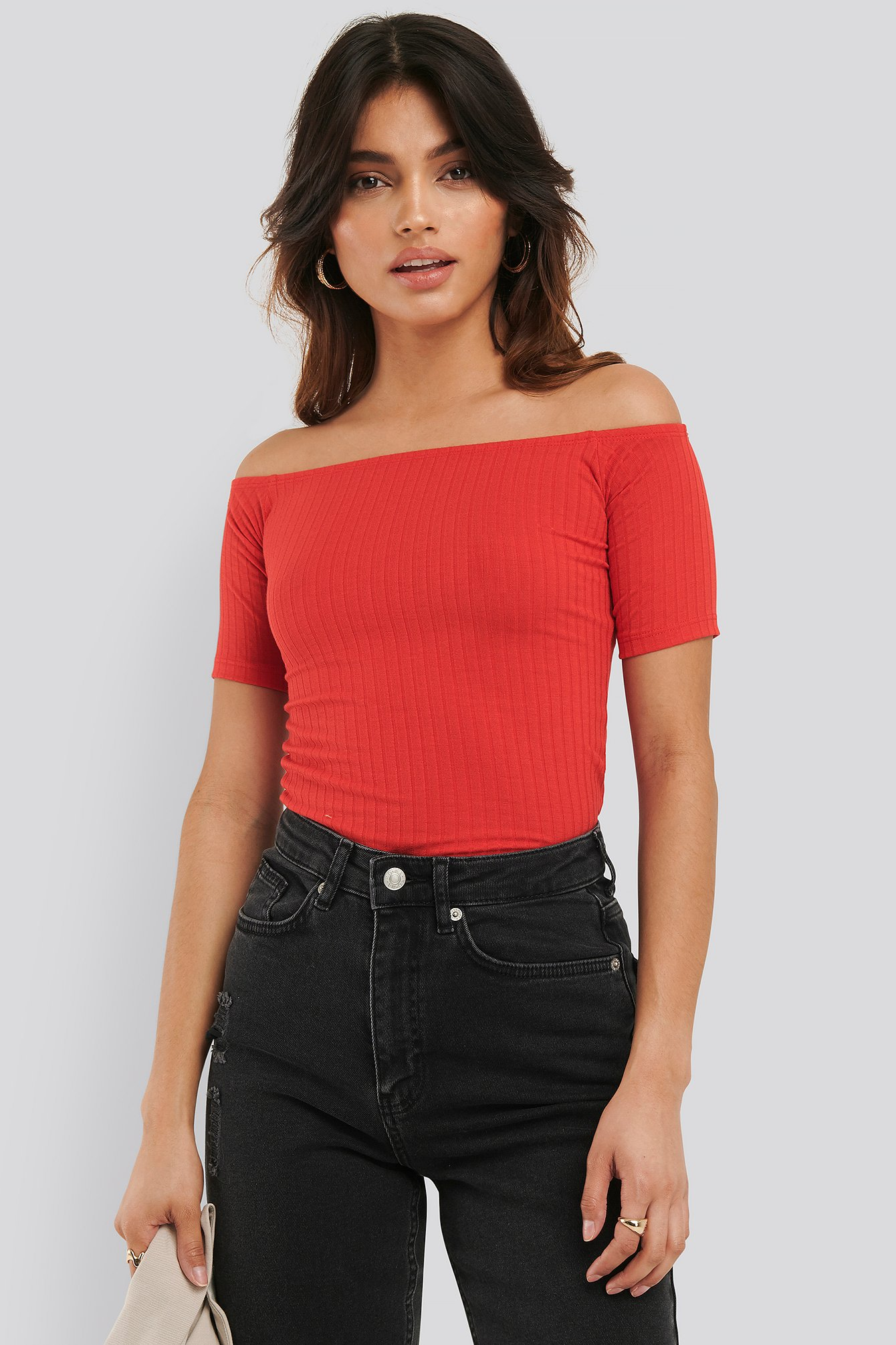 na-kd basic -  Off Shoulder Ribbed Top - Red